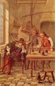 Romantische prent uit ca. 1880 waarop Jhr. Jacob van Eyck samen met de gebr. Hemony de klokken stemt