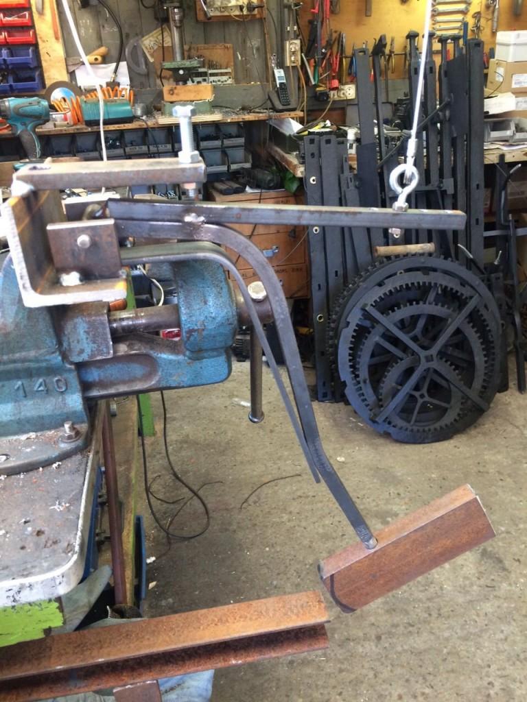 De proefopstelling voor de nieuwe hamers.