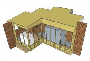 Het ontwerp voor de ombouw, gebaseerd op hoe het er vroeger moet hebben uitgezien.